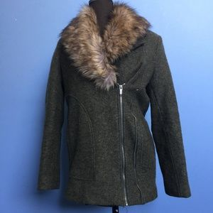 Zara Trafaluc Faux Fur-Trim Winter Coat